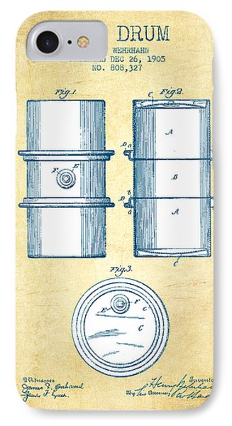 Drum iPhone 8 Case - Oil Drum Patent Drawing From 1905 - Vintage Paper by Aged Pixel