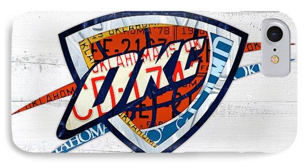Okc Thunder Basketball Team Retro Logo Vintage Recycled Oklahoma License Plate Art IPhone Case