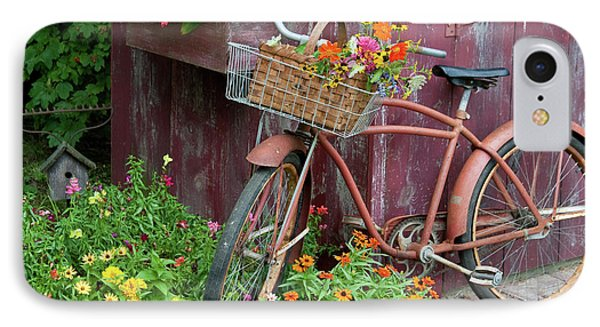Old Bicycle With Flower Basket Next IPhone Case