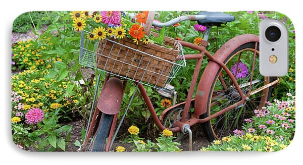 Old Bicycle With Flower Basket IPhone Case