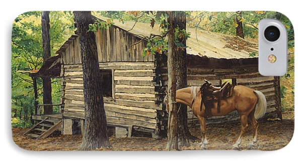 Log Cabin - Back View - At Big Creek IPhone Case