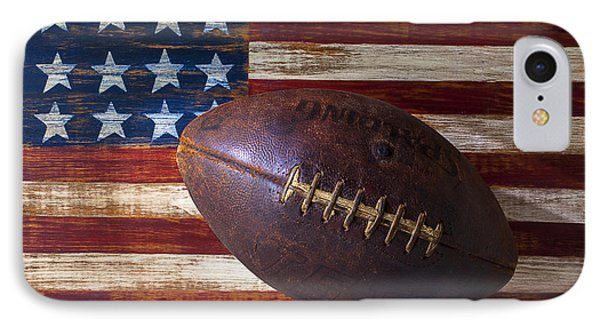 American iPhone 8 Case - Old Football On American Flag by Garry Gay