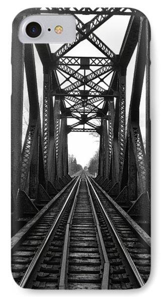 Old Huron River Rxr Bridge Black And White  IPhone Case