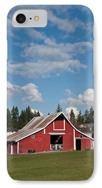 Old Red Barn And Puffy Clouds IPhone Case
