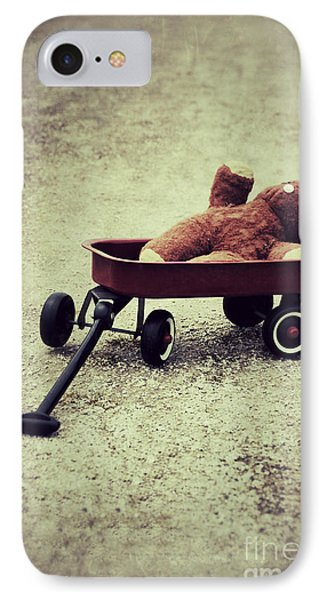 Old Teddy Bear In Red Wagon IPhone Case