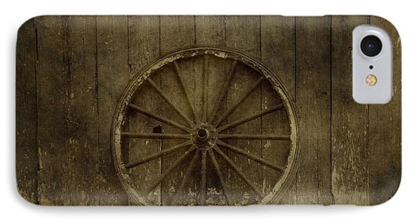 Old Wagon Wheel On Barn Wall IPhone Case