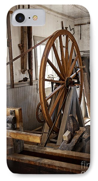 Old Wooden Treadle Lathe And Tools IPhone Case