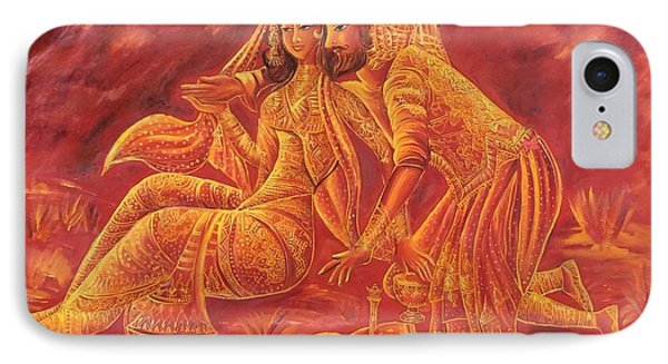 Omar Khayyam Romantic Scene In Two Tone Red And Gold IPhone Case