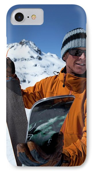 Knit Hat iPhone 8 Case - One Backcountry Skier Putting Skins by Trevor Clark
