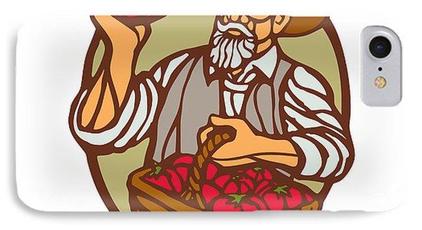 Organic Farmer Tomato Basket Woodcut Linocut IPhone Case