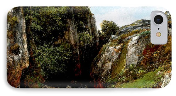 IPhone Case featuring the digital art Origin Of A Stream by Gustave Courbet
