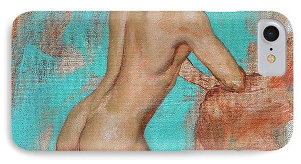 Original Impression Man Body Oil Painting Male Nude On Canvas#16-2-6-05 IPhone Case