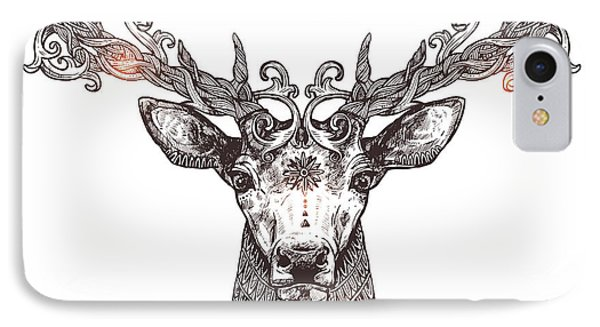 Beautiful Nature iPhone 8 Case - Ornamental Tattoo Deer Head. Highly by Alex Rockheart