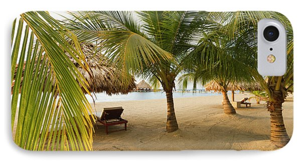 Belize iPhone 8 Case - Palm Trees On Sandy Beach, Placencia by William Sutton