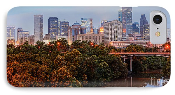 Panorama Of Downtown Houston At Dawn - Texas IPhone Case