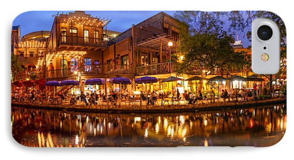 Panorama Of San Antonio Riverwalk At Dusk - Texas IPhone Case