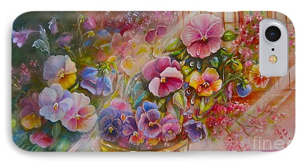 Pansies In Gold IPhone Case