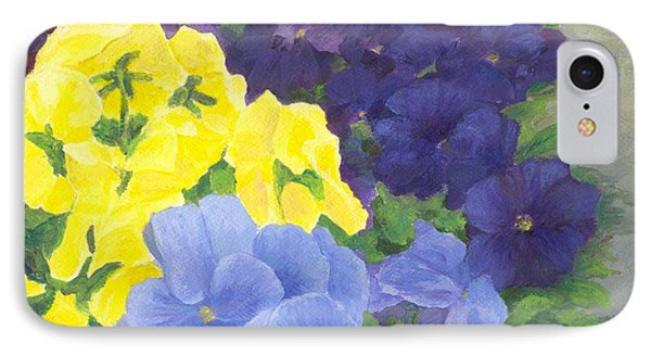 Pansy Garden Bright Colorful Flowers Painting Pansies Floral Art Artist K. Joann Russell IPhone Case