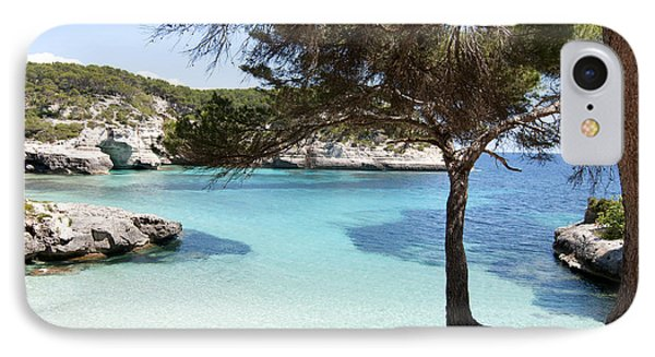 Paradise In Minorca Is Called Cala Mitjana Beach Where Sand Is Almost White And Sea Is A Deep Blue  IPhone Case