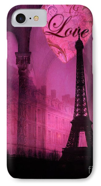 Paris Romantic Pink Fantasy Love Heart - Paris Eiffel Tower Valentine Love Heart Print Home Decor IPhone Case