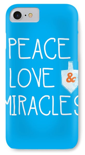 Peace Love And Miracles With Dreidel  IPhone Case