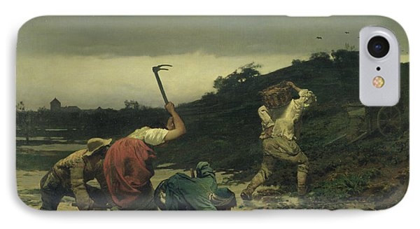 Peasants Harvesting Potatoes During The Flood Of The Rhine In 1852 Oil On Canvas IPhone Case