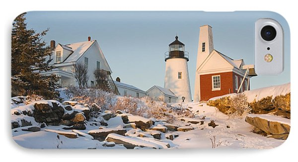 Pemaquid Point Lighthouse Winter In Maine  IPhone Case