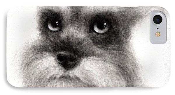 Pensive Schnauzer Dog Painting IPhone Case