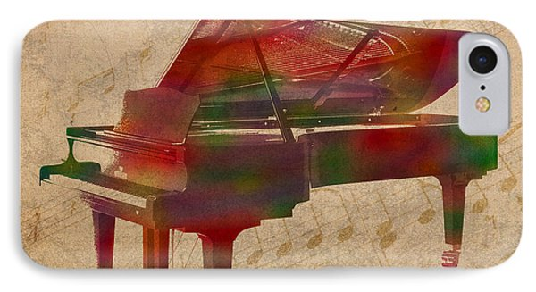 Piano Instrument Watercolor Portrait With Sheet Music Background On Worn Canvas IPhone Case