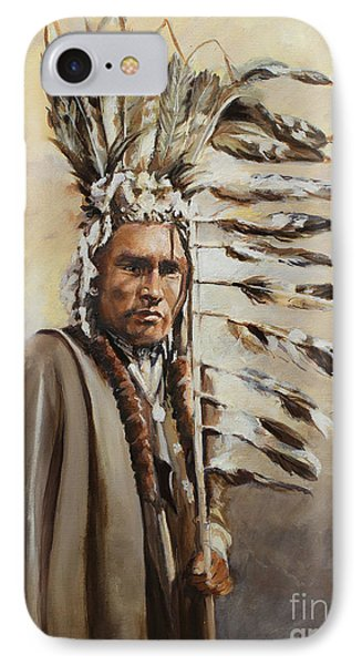 Piegan Warrior With Coup Stick IPhone Case