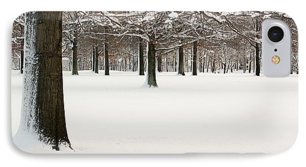 Pin Oaks Covered In Snow IPhone Case