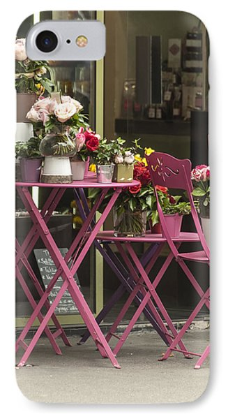 Pink Flower Table Paris IPhone Case