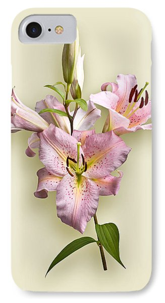 Pink Lilies On Cream IPhone Case