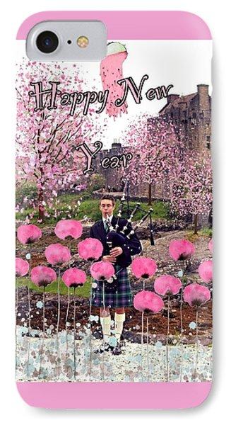 Scottish piper iphone 8 cases fine art america scottish piper iphone 8 case pink new year greeting by joan violet stretch m4hsunfo