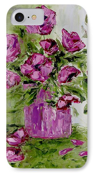 Pink Poppies In Pink Vase IPhone Case