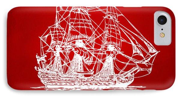 Pirate Ship Artwork - Red IPhone Case