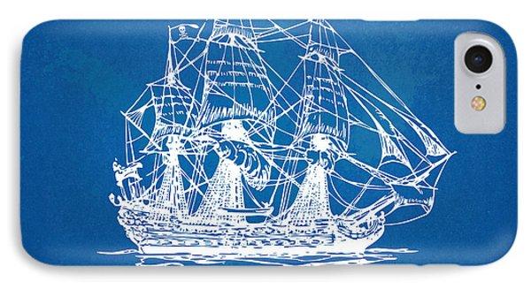 Pirate Ship Blueprint Artwork IPhone Case