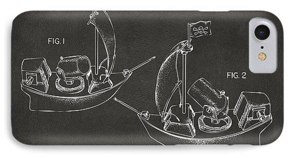 Pirate Ship Patent Artwork - Gray IPhone Case