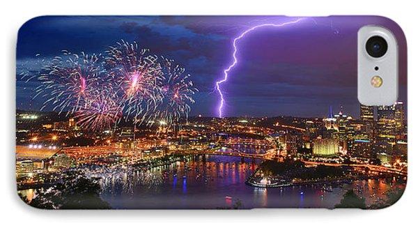 Pittsburgh Pennsylvania Skyline Fireworks At Night Panorama IPhone Case
