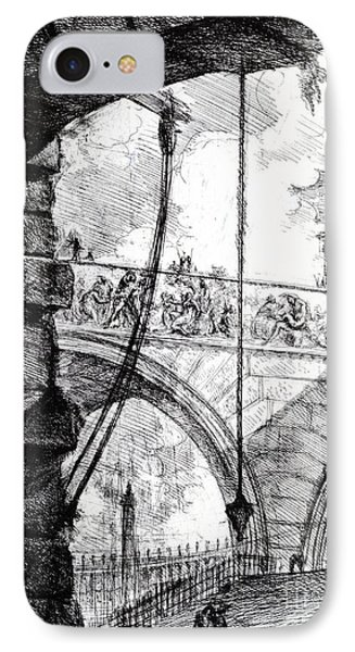 Dungeon iPhone 8 Case - Plate 4 From The Carceri Series by Giovanni Battista Piranesi