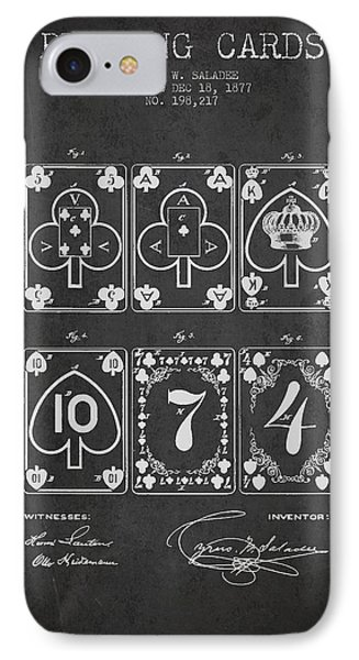 Playing Cards  Patent Drawing From 1877 - Dark IPhone Case