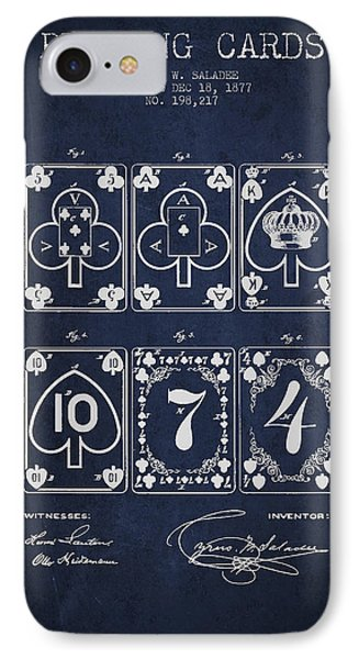 Playing Cards  Patent Drawing From 1877 - Navy Blue IPhone Case