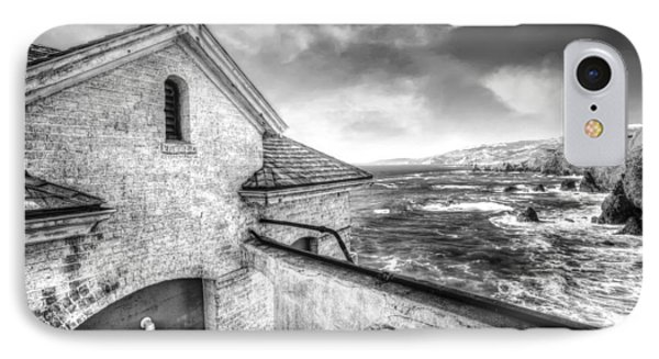 Point Bonita Lighthouse In Black And White - Marin Headlands IPhone Case