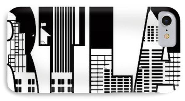Portland City Skyline Text Outline Illustration IPhone Case