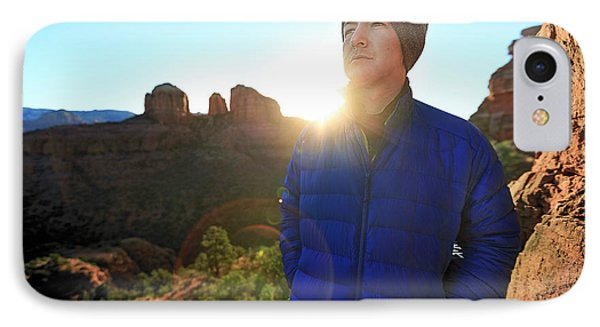 Knit Hat iPhone 8 Case - Portrait Of A Male Hiker In Sedona by Kyle Ledeboer