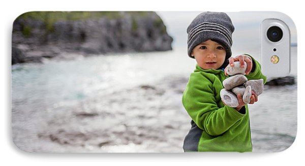 Knit Hat iPhone 8 Case - Portrait Of Little Boy Standing At Lake by Steve Glass
