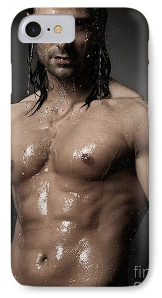 Portrait Of Man With Wet Bare Torso Standing Under Shower IPhone Case