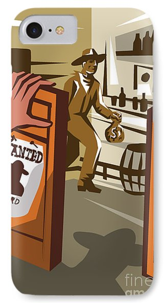 Drum iPhone 8 Case - Poster Illustration Of An Outlaw Cowboy by Patrimonio Designs Ltd