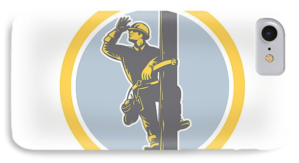 Power Lineman Telephone Repairman Looking Saluting Retro IPhone Case