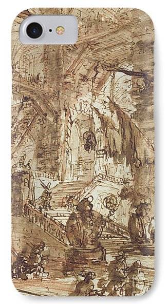 Dungeon iPhone 8 Case - Preparatory Drawing For Plate Number Viii Of The Carceri Al'invenzione Series by Giovanni Battista Piranesi